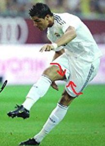 サッカーの両股関節の内旋