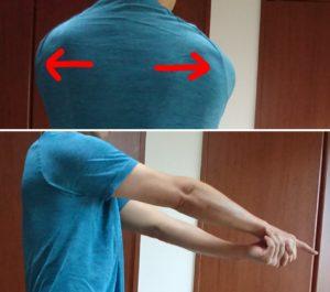 左右の肩甲骨の外転運動